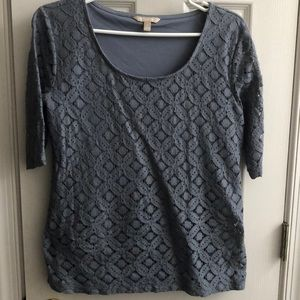 Grey short sleeve top with inner shell